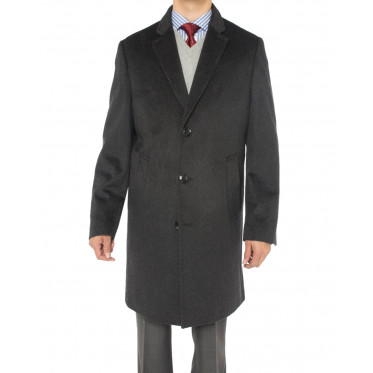 Mens Luciano Natazzi Cashmere Wool Overc - Image1