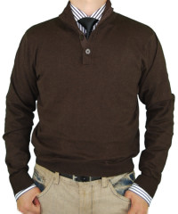 Mens Luciano Natazzi Button Mock Neck Sw - Image1