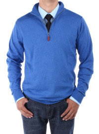 Mens Luciano Natazzi Mock Neck Zip Sweat - Image1