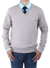 Mens Luciano Natazzi V-neck Cotton Sweat - Image1