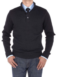 Mens Luciano Natazzi Mock Neck Ribbed Sl - Image1