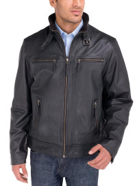 Mens Luciano Natazzi Leather Moto Biker  - Image1