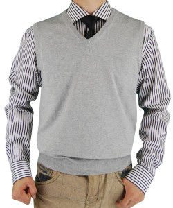 Mens Luciano Natazzi Classic Fit V-neck  - Image1