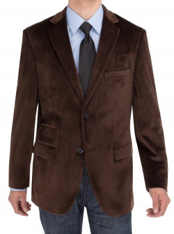 Mens Salvatore Exte Two Button Blazer Modern Fit Velvet Side-Vent Suit Jacket in Brown