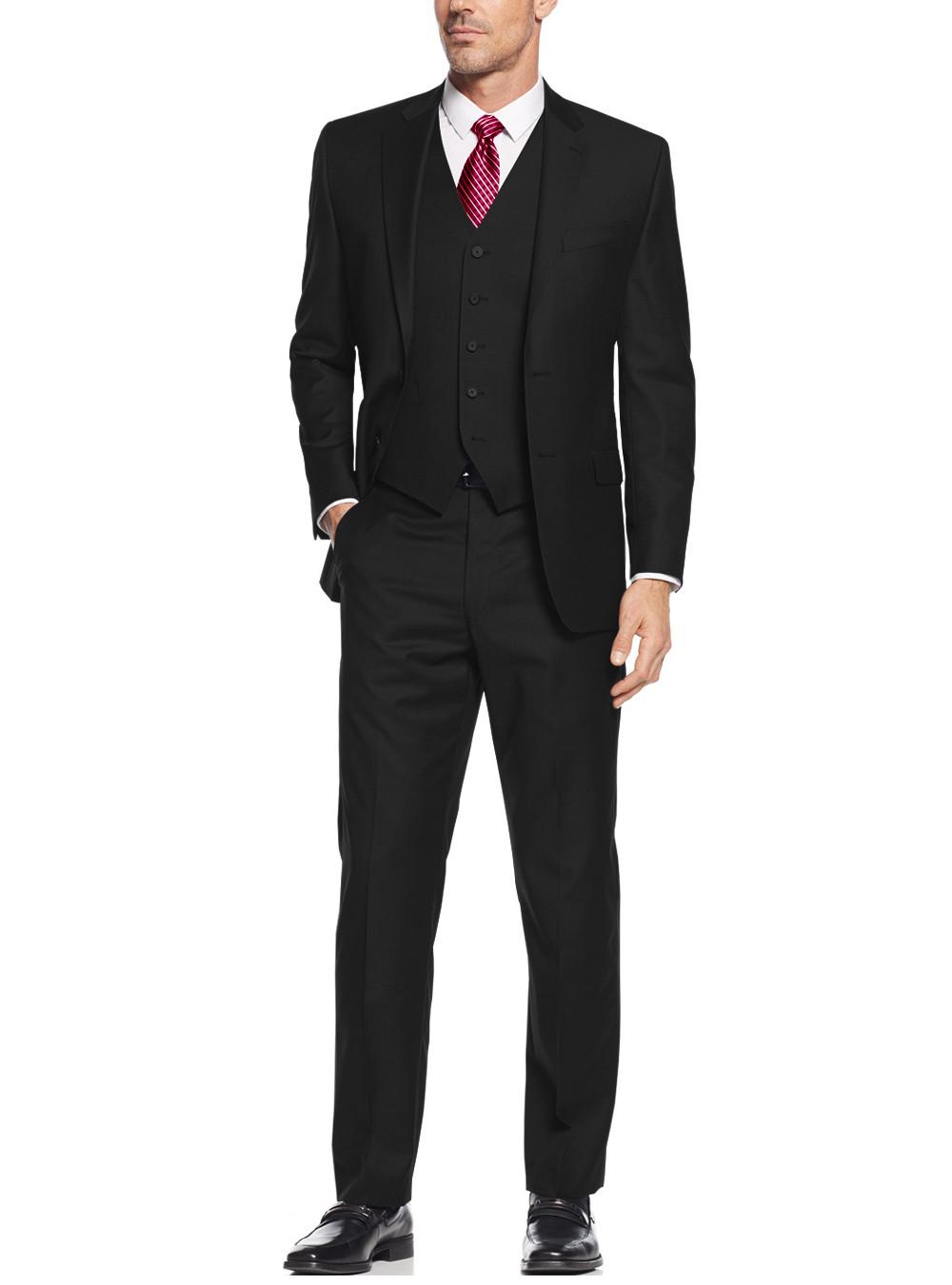 Mens Black 3 Button Vested 3 Piece Suits By Salvatore Exte
