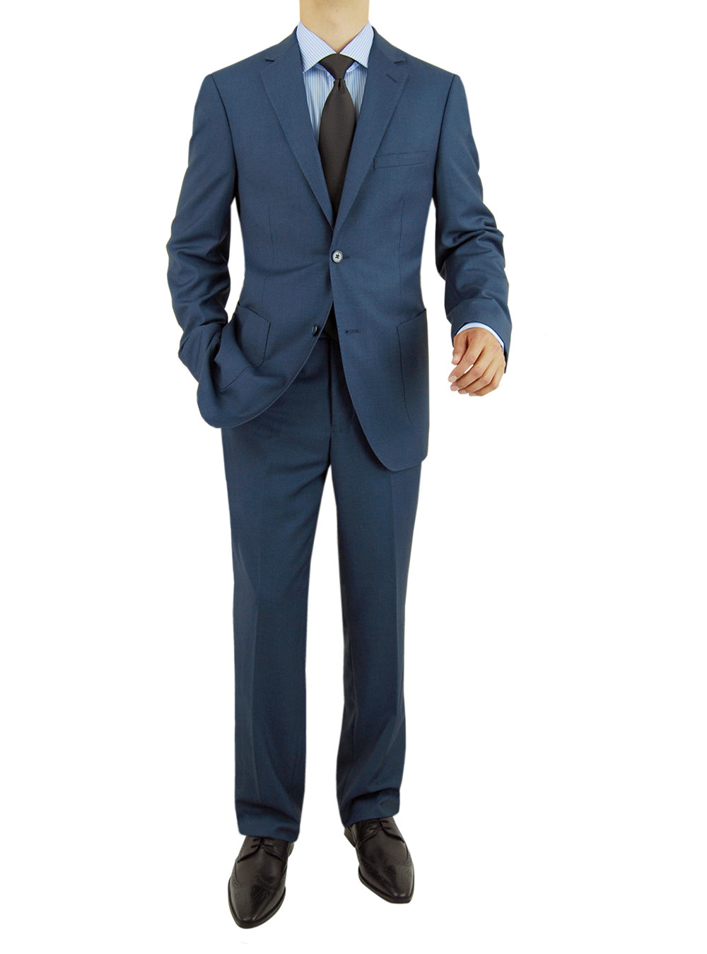 Mens Blue 2 Button Modern Fit Suits By Salvatore Exte