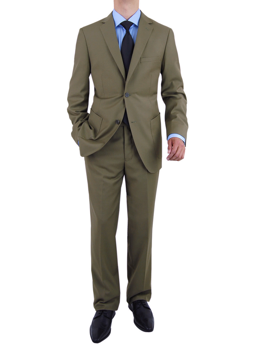Mens Olive 2 Button Modern Fit Suits By Salvatore Exte