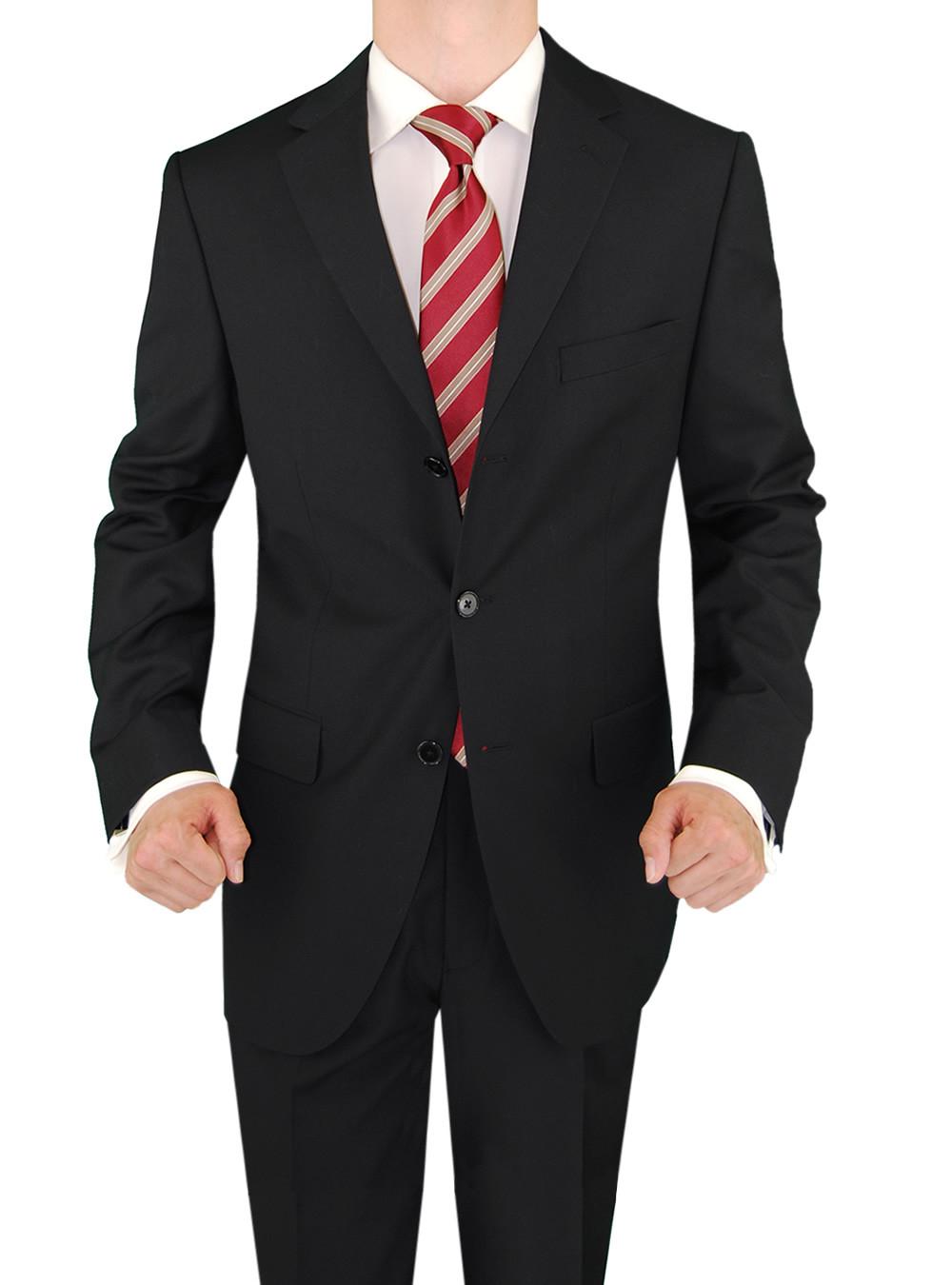 Mens Black 3 Button Classic Fit Suits By Salvatore Exte