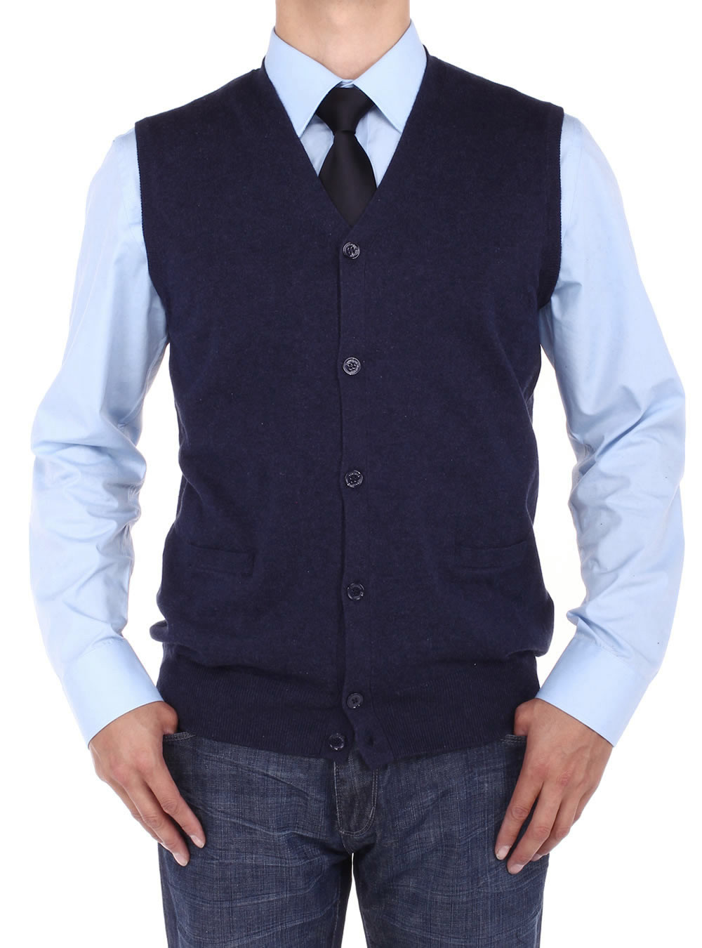 Mens Luciano Natazzi Buttoned Cotton Sweater Vest Relaxed