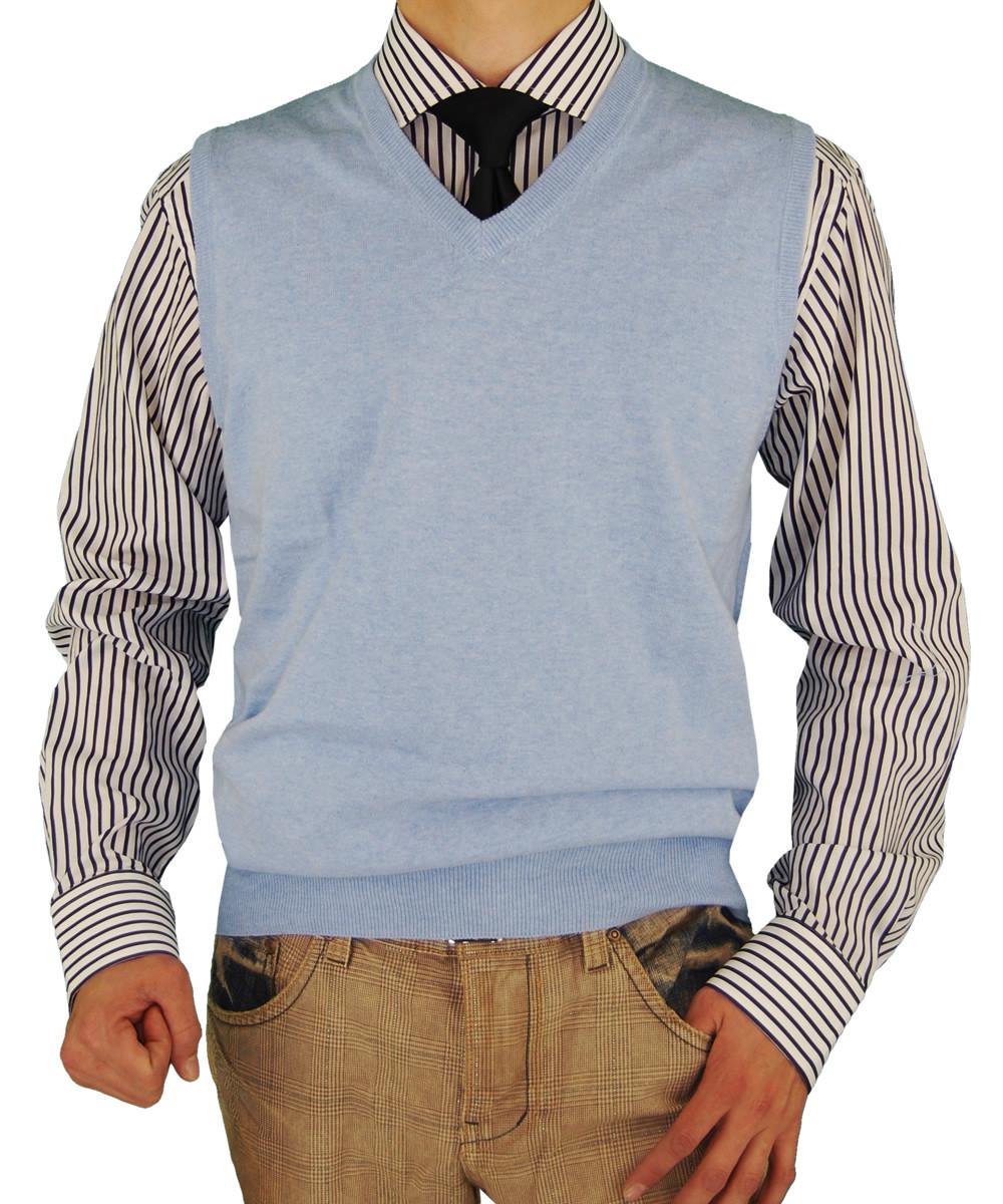 Mens Luciano Natazzi Classic Fit V-neck Sweater Vest Light Blue ...