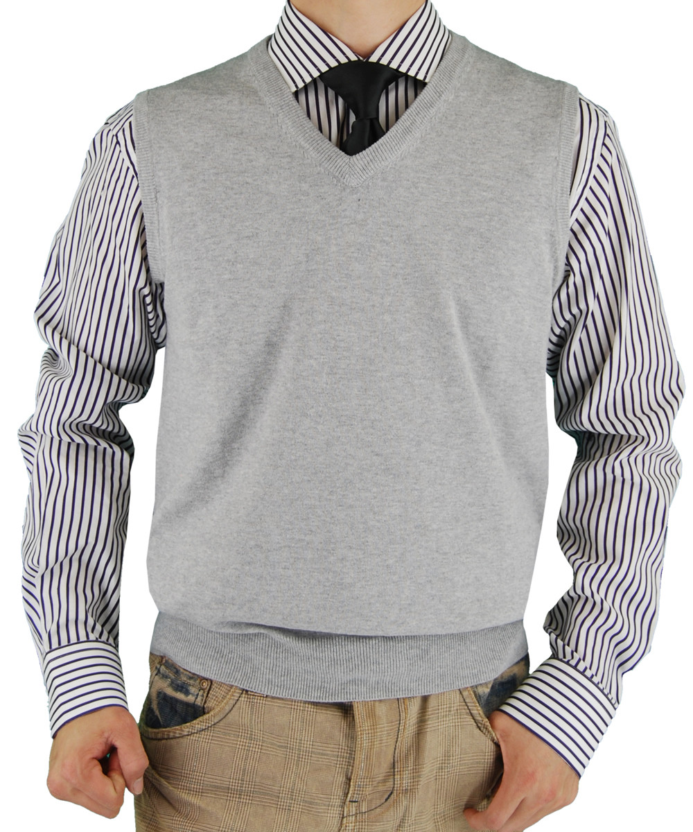 Gray V Neck Sweater
