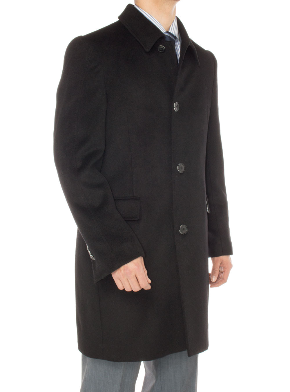Mens Luciano Natazzi Cashmere Topcoat Classic Knee Length