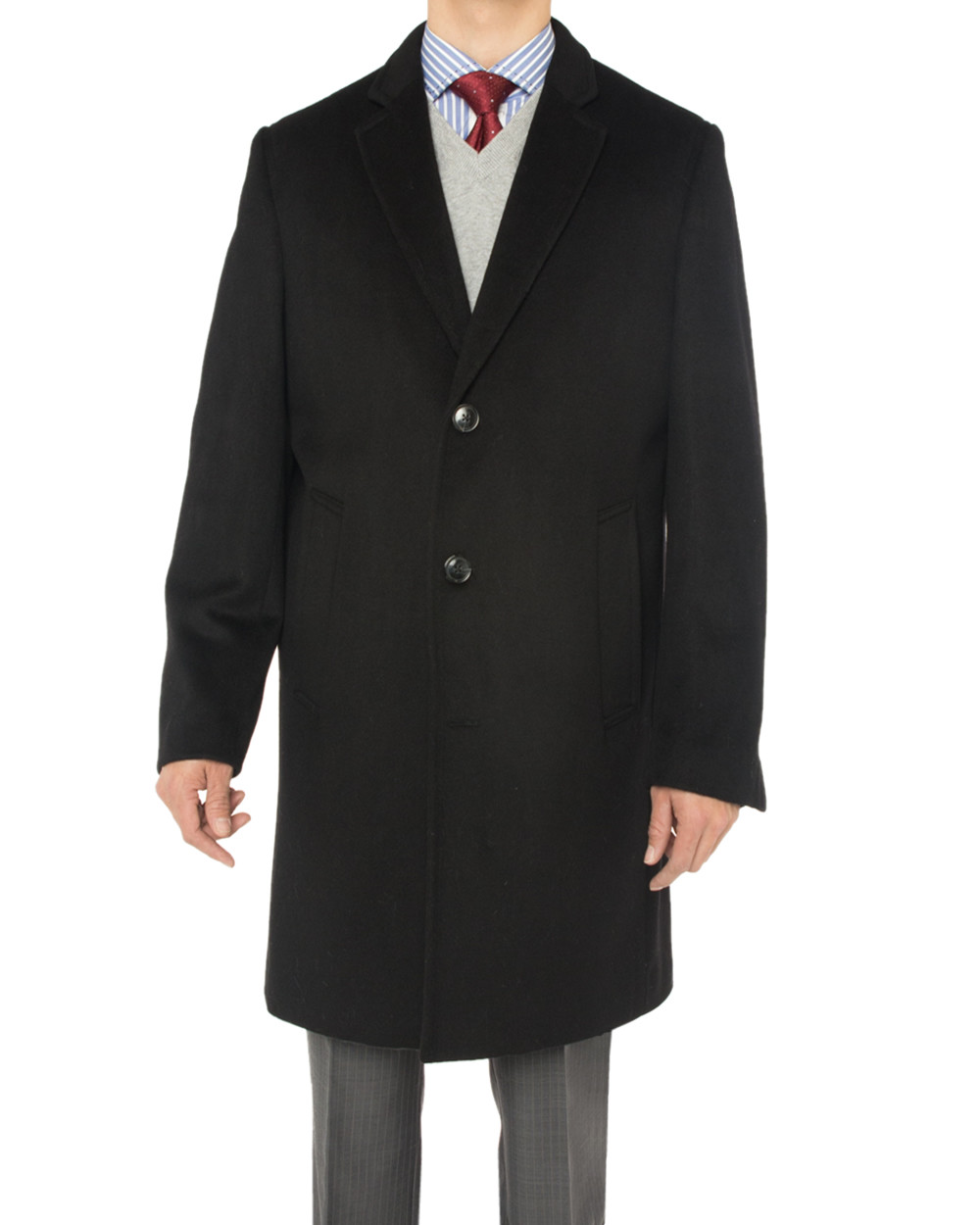 Mens Luciano Natazzi Cashmere Wool Overcoat Knee Length