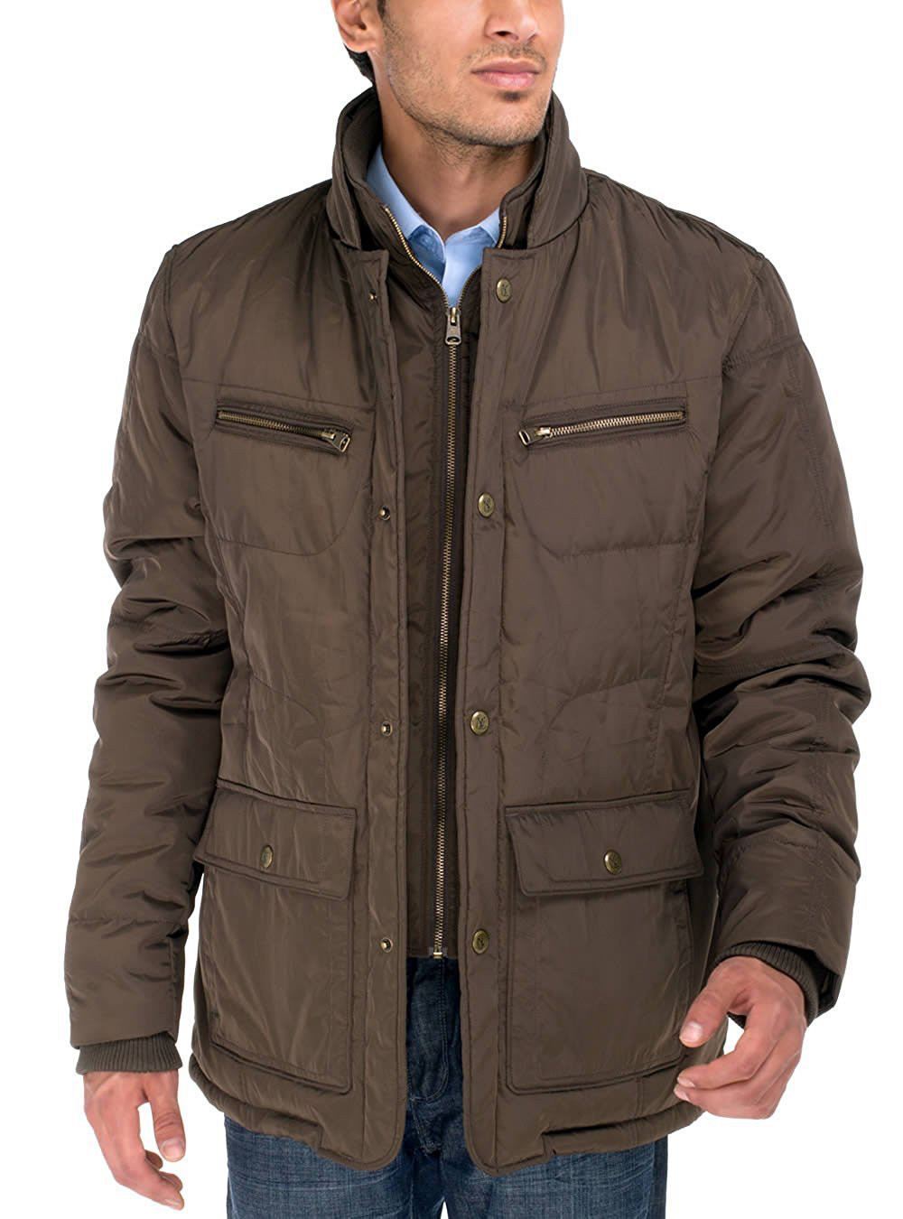 Mens Luciano Natazzi Patton Four Pocket Quilted Puffer