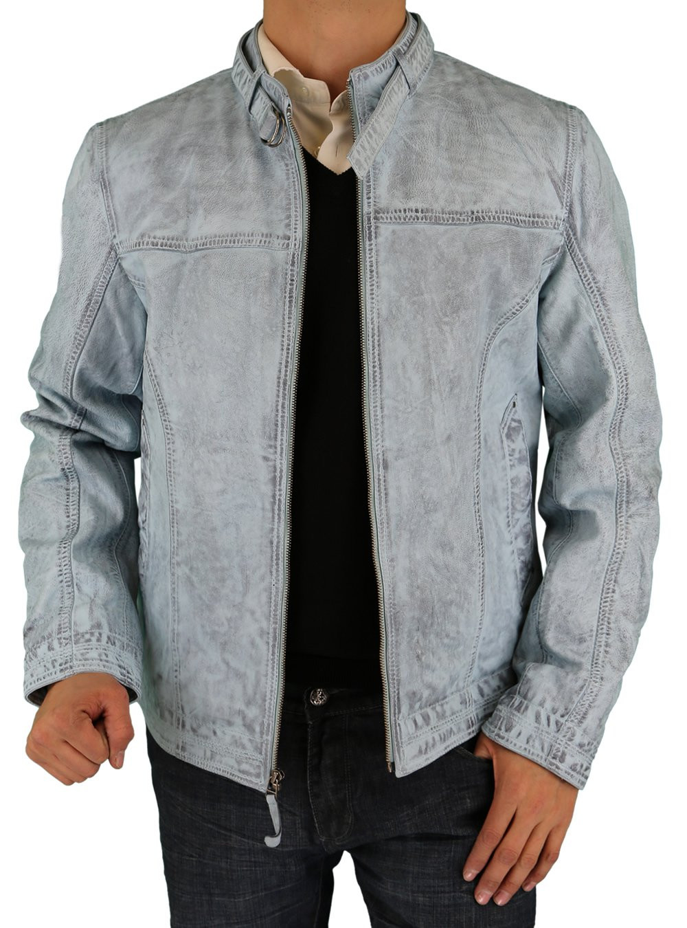 Mens Luciano Natazzi Picasso Leather Trim Fit Racer Jacket