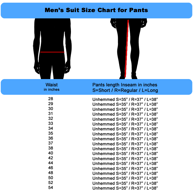 Mens Size Chart for Suit Pants by Fashion Suit Outlet