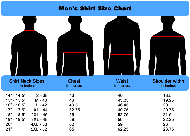Mens Size Chart for Shirts by Fashion Suit Outlet